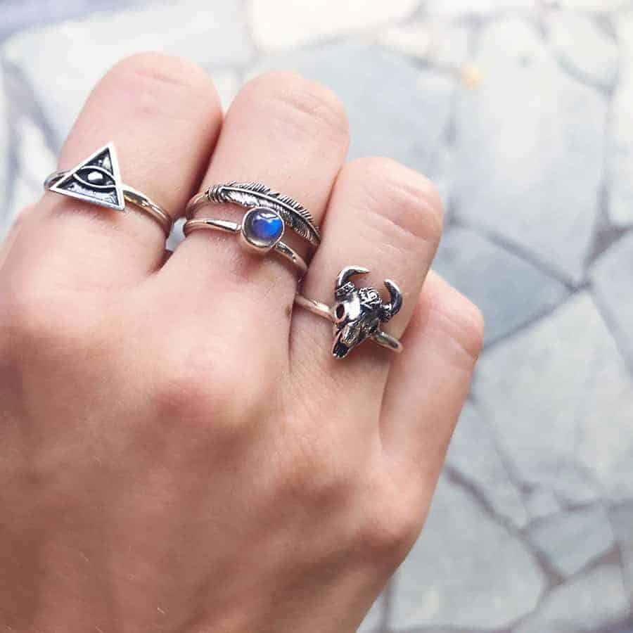 Sterling silver all seeing pyramid eye ring small labradorite ring feather ring aztec bull ring happy hippies.jpg