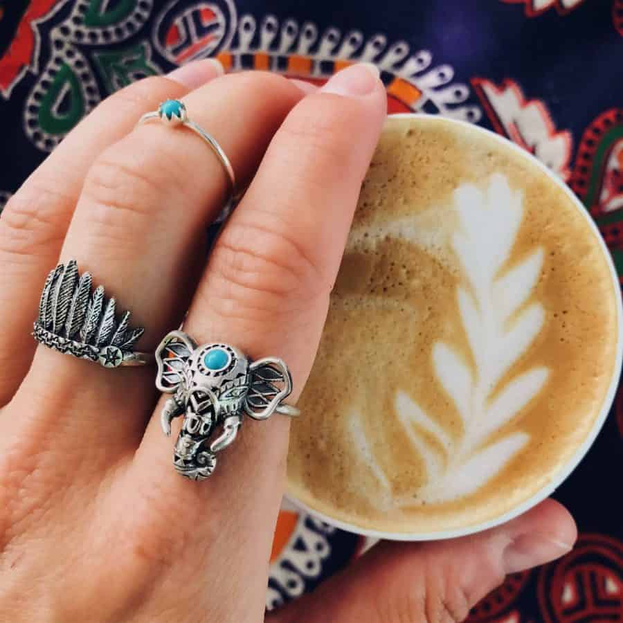 How to wear bohemian ring sterling silver rings from Happy Hippies stacking rings