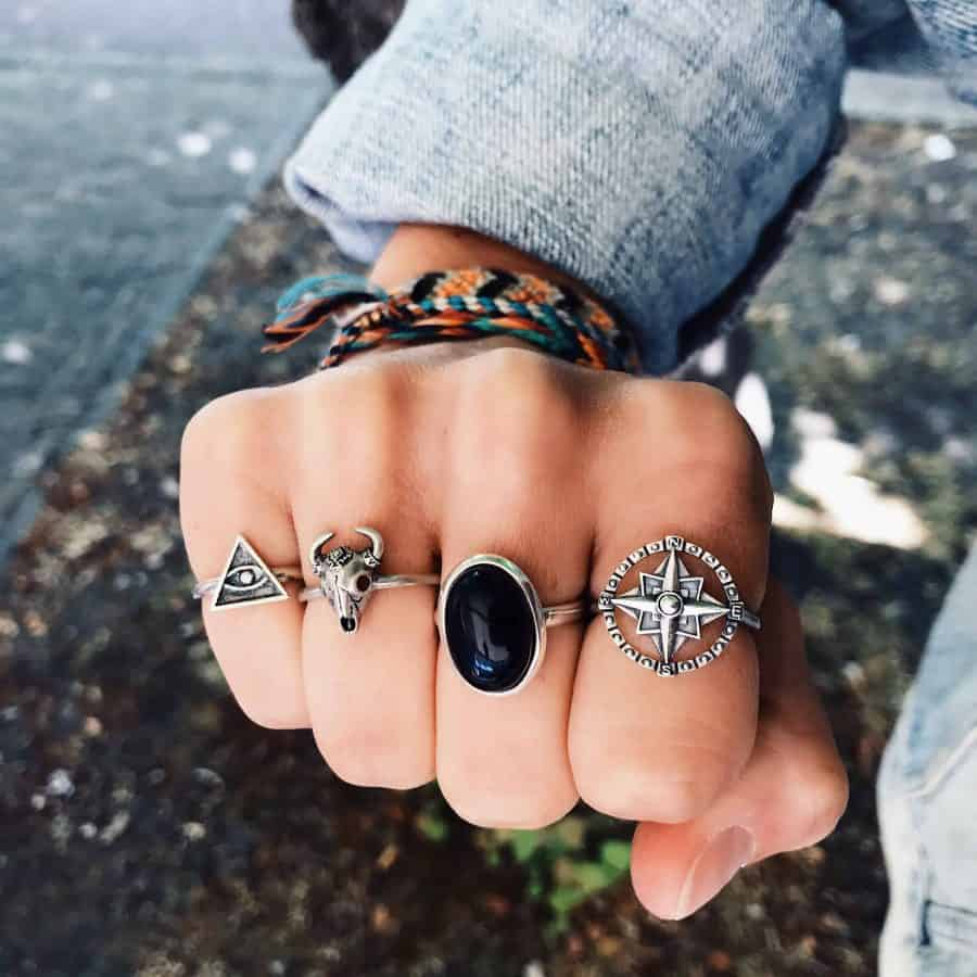 How to wear rings that rock. Happy Hippies bohemian sterling silver black onyx compass aztec bull illuminati ring