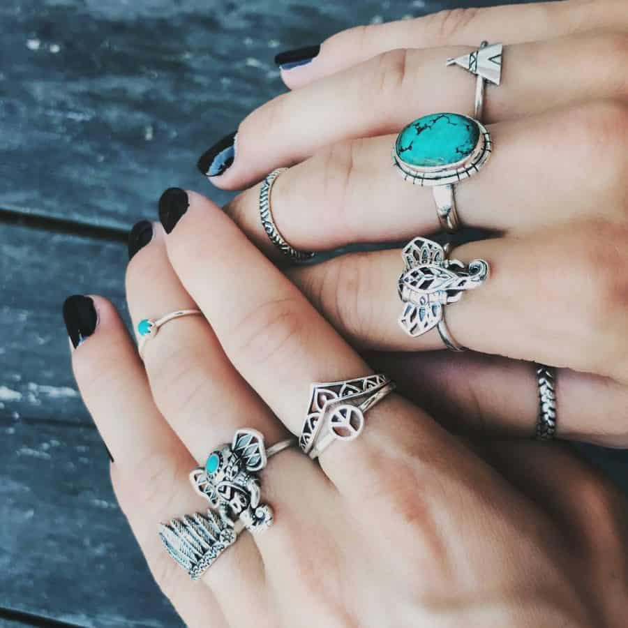 Sterling silver stacking rings with turquoise stones by happy hippies tribe inspired