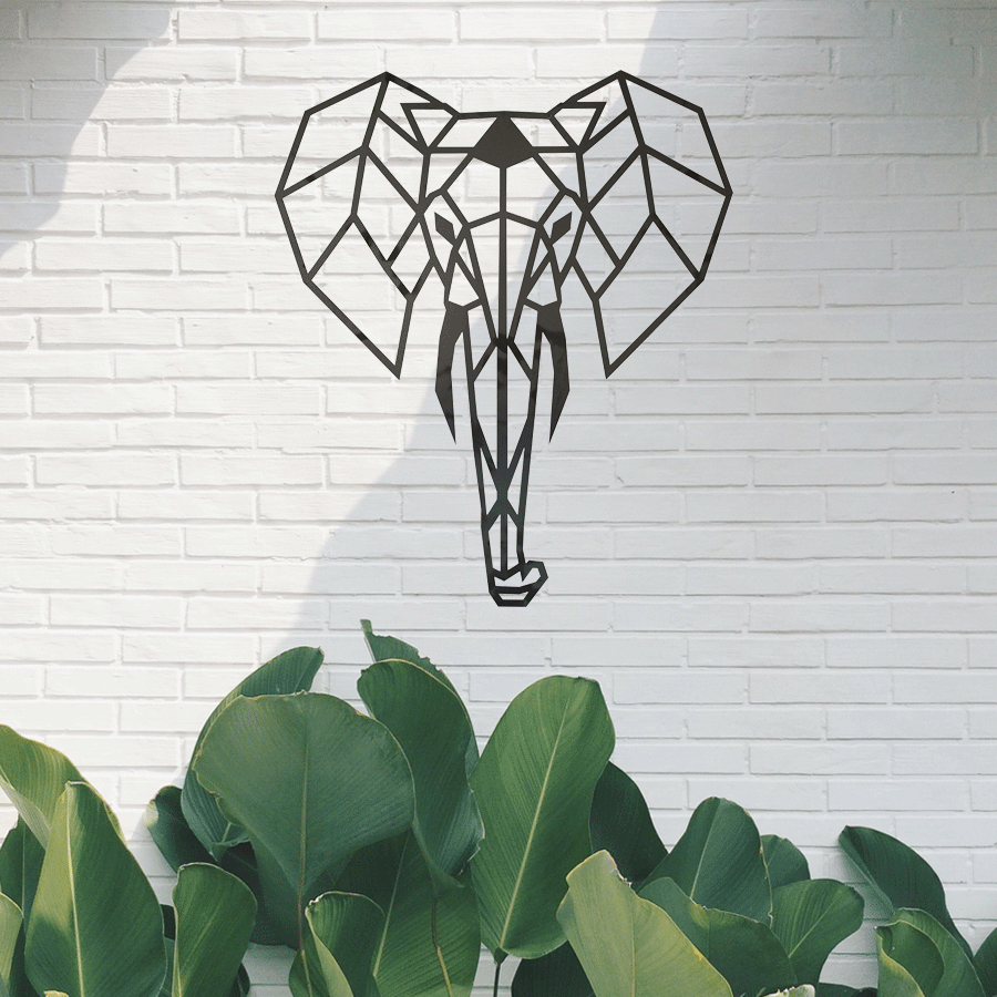 wall decoration steal elephant home accessory