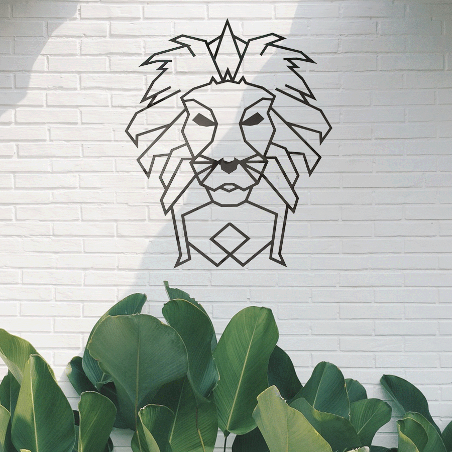 Wall decoration steal lion