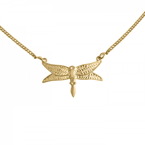 14k gold vermeil dragonfly necklace