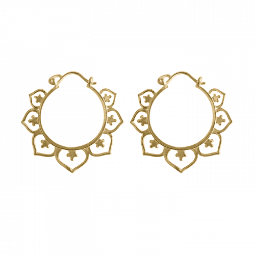 14k gold vermeil mandala hoop earrings