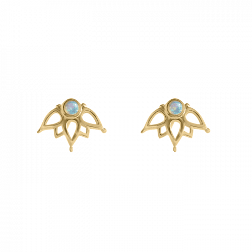 14k gold vermeil mandala studs with opal