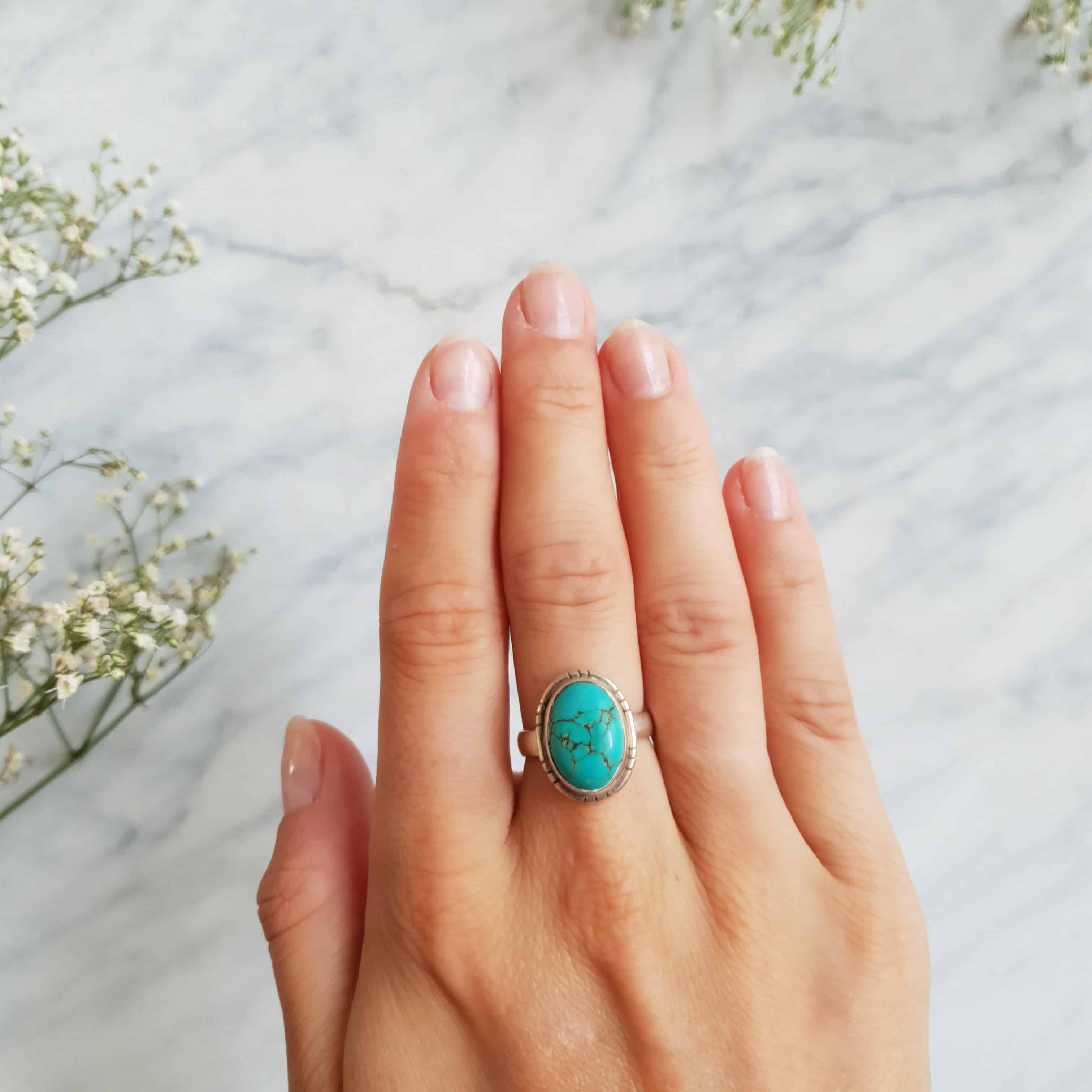 Sterling silver oval turquoise ring by Happy Hippies