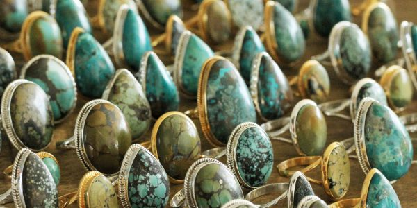 Handmade sterling silver and 24k gold vermeil bohemian rings with turquoise and chrysocolla